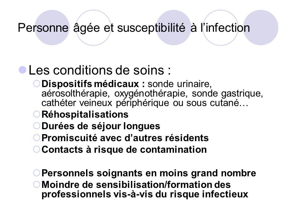 Les conditions de soins : Dispositifs médicaux : sonde urinaire, aérosolthérapie, oxygénothérapie, sonde gastrique, cathéter veineux périphérique ou s