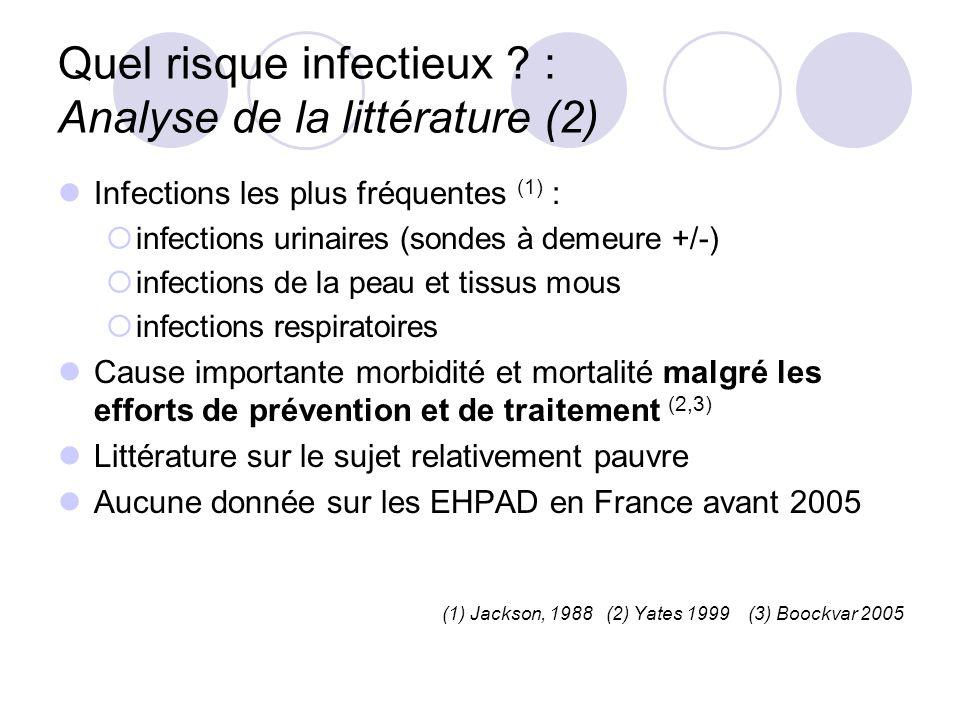 Infections les plus fréquentes (1) : infections urinaires (sondes à demeure +/-) infections de la peau et tissus mous infections respiratoires Cause i