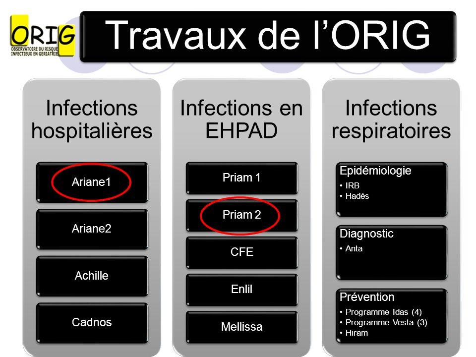 Travaux de lORIG Infections hospitalières Ariane1Ariane2AchilleCadnos Infections en EHPAD Priam 1Priam 2CFEEnlilMellissa Infections respiratoires Epid