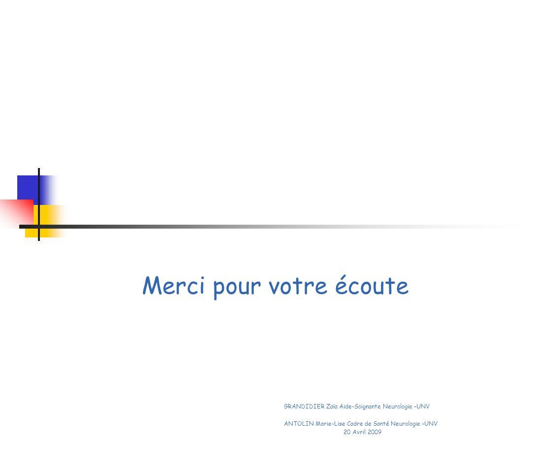 Merci pour votre écoute GRANDIDIER Zaïa Aide-Soignante Neurologie –UNV ANTOLIN Marie-Lise Cadre de Santé Neurologie –UNV 20 Avril 2009