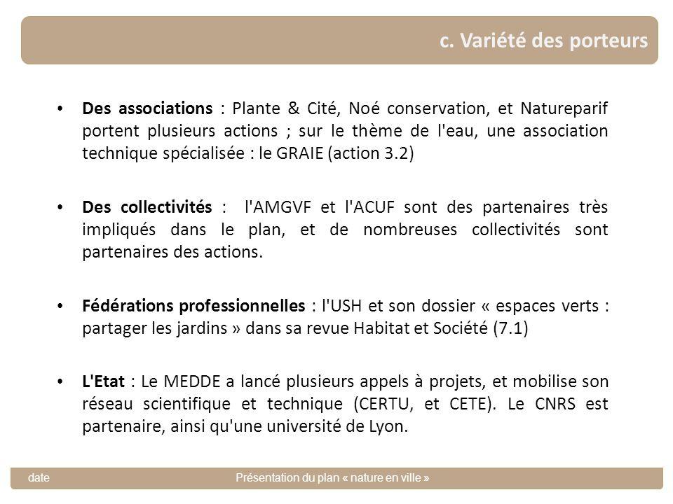 11 Des associations : Plante & Cité, Noé conservation, et Natureparif portent plusieurs actions ; sur le thème de l'eau, une association technique spé
