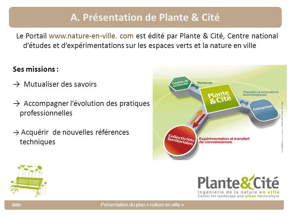 A. Présentation de Plante & Cité datePrésentation du plan « nature en ville » Le Portail www.nature-en-ville. com est édité par Plante & Cité, Centre