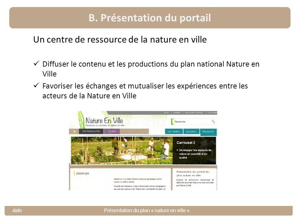 B. Présentation du portail datePrésentation du plan « nature en ville » Un centre de ressource de la nature en ville Diffuser le contenu et les produc