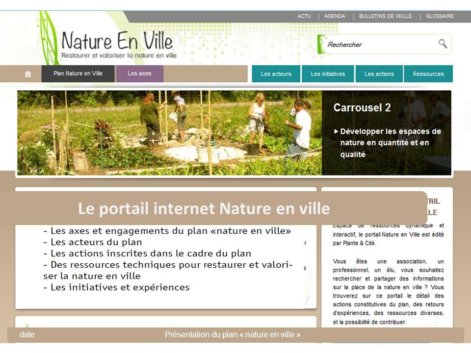 DateTitre de la présentation ou nom de lévènement 19 Le portail internet Nature en ville datePrésentation du plan « nature en ville »
