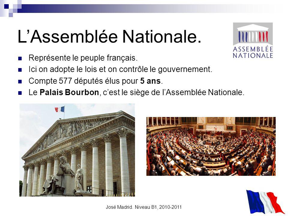 José Madrid. Niveau B1, 2010-2011 LAssemblée Nationale. Représente le peuple français. Ici on adopte le lois et on contrôle le gouvernement. Compte 57