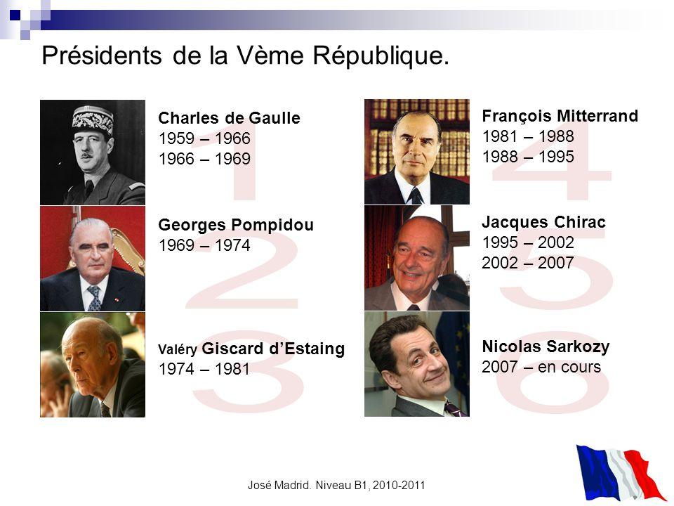 José Madrid. Niveau B1, 2010-2011 Présidents de la Vème République. Charles de Gaulle 1959 – 1966 1966 – 1969 Valéry Giscard dEstaing 1974 – 1981 Geor