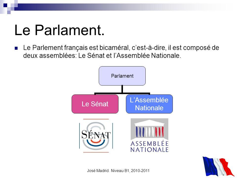 José Madrid. Niveau B1, 2010-2011 Le Parlament. Parlament Le Sénat LAssemblée Nationale Le Parlement français est bicaméral, cest-à-dire, il est compo