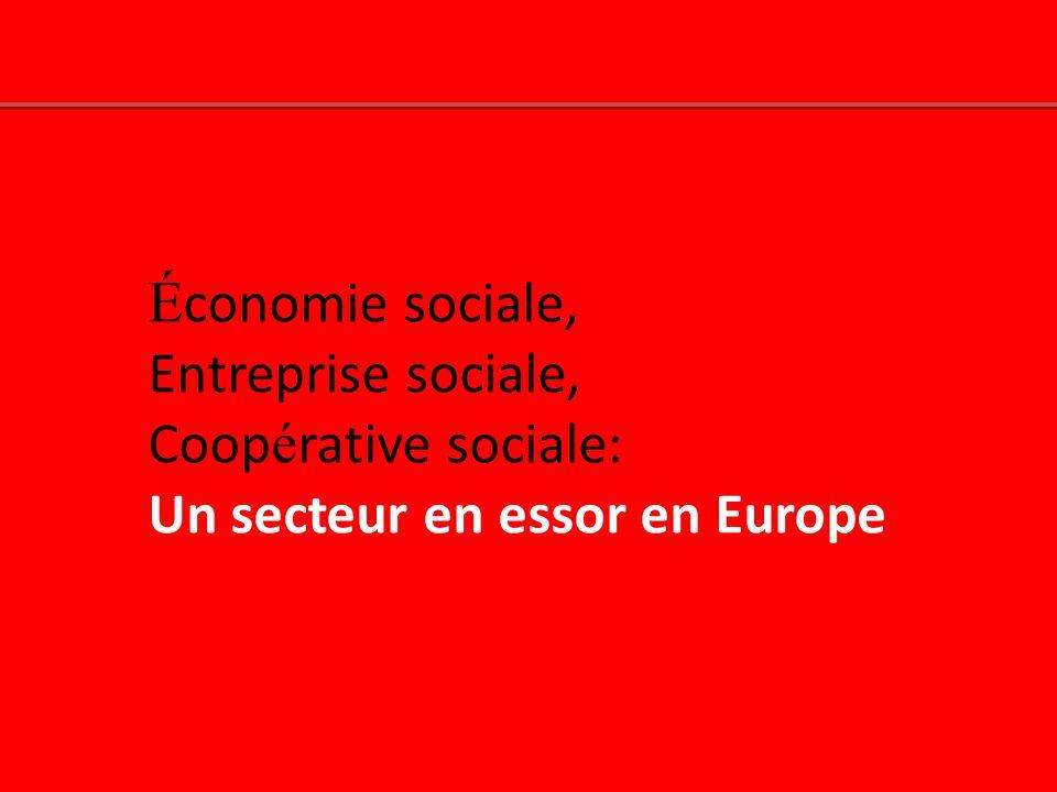 É conomie sociale, Entreprise sociale, Coop é rative sociale: Un secteur en essor en Europe