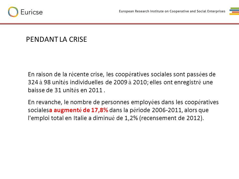 En raison de la r é cente crise, les coop é ratives sociales sont pass é es de 324 à 98 unit é s individuelles de 2009 à 2010; elles ont enregistr é u