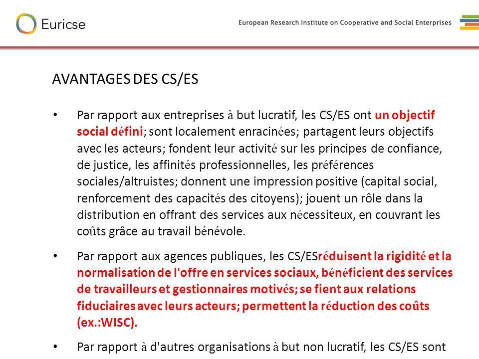 AVANTAGES DES CS/ES Par rapport aux entreprises à but lucratif, les CS/ES ont un objectif social d é fini; sont localement enracin é es; partagent leu