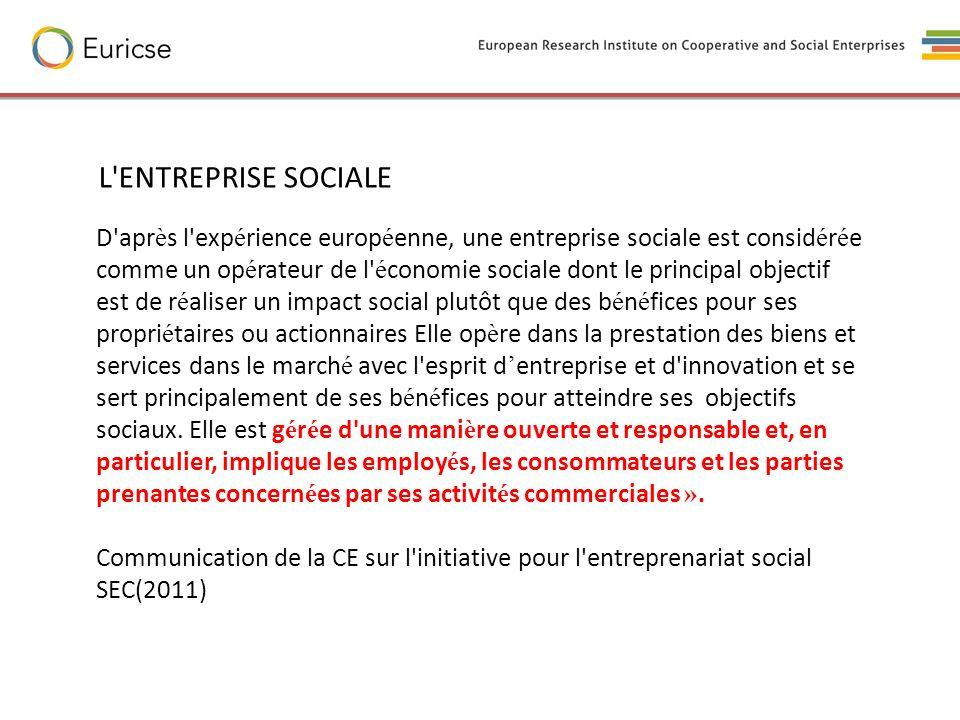 D'apr è s l'exp é rience europ é enne, une entreprise sociale est consid é r é e comme un op é rateur de l' é conomie sociale dont le principal object