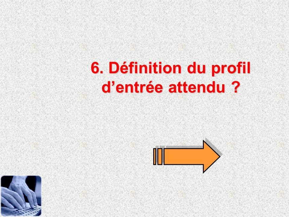 6. Définition du profil dentrée attendu ?