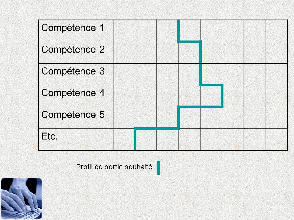 Compétence 1 Compétence 2 Compétence 3 Compétence 4 Compétence 5 Etc. Profil de sortie souhaité