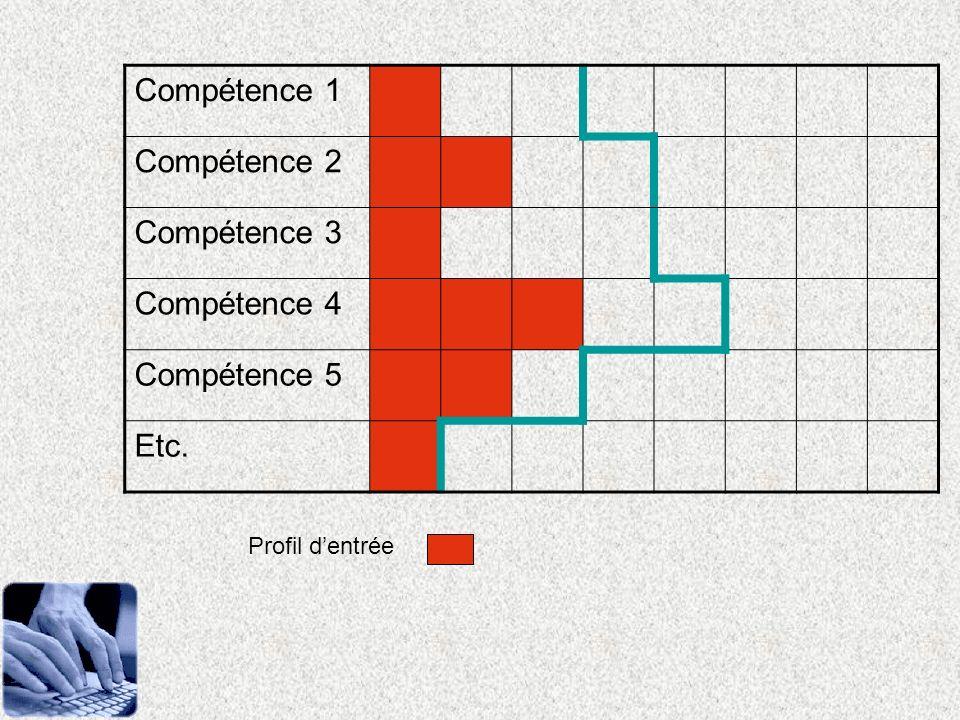 Compétence 1 Compétence 2 Compétence 3 Compétence 4 Compétence 5 Etc. Profil dentrée
