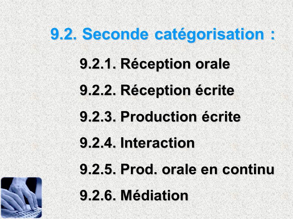 9.2. Seconde catégorisation : 9.2.1. Réception orale 9.2.2. Réception écrite 9.2.3. Production écrite 9.2.4. Interaction 9.2.5. Prod. orale en continu
