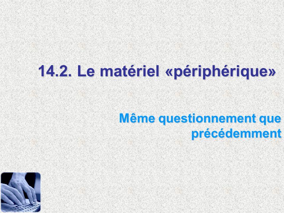 14.2. Le matériel «périphérique» Même questionnement que précédemment