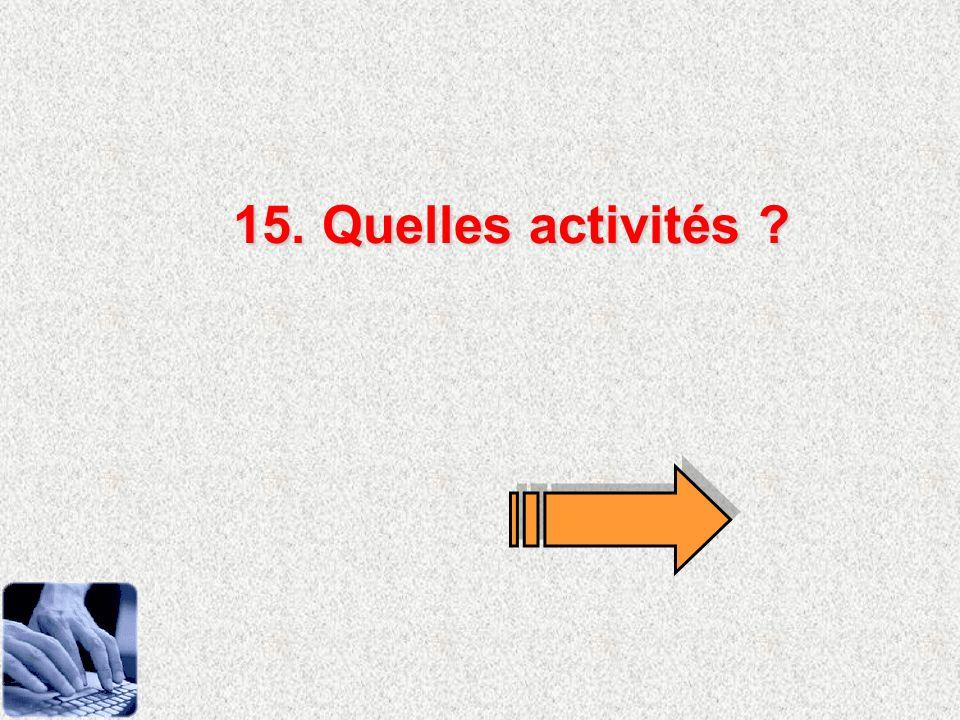 15. Quelles activités ?