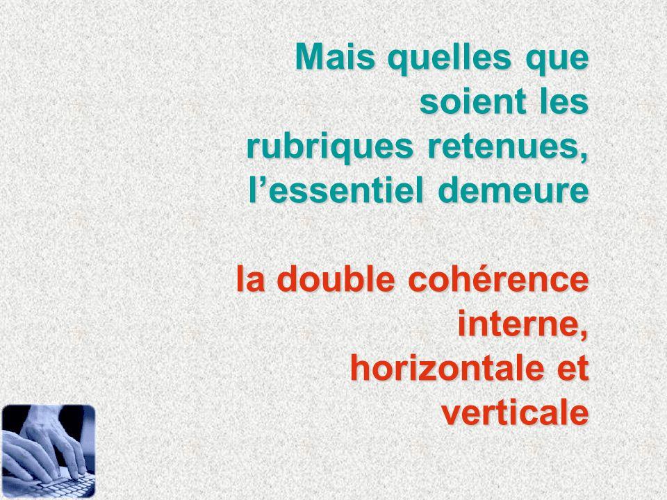 Mais quelles que soient les rubriques retenues, lessentiel demeure la double cohérence interne, la double cohérence interne, horizontale et verticale
