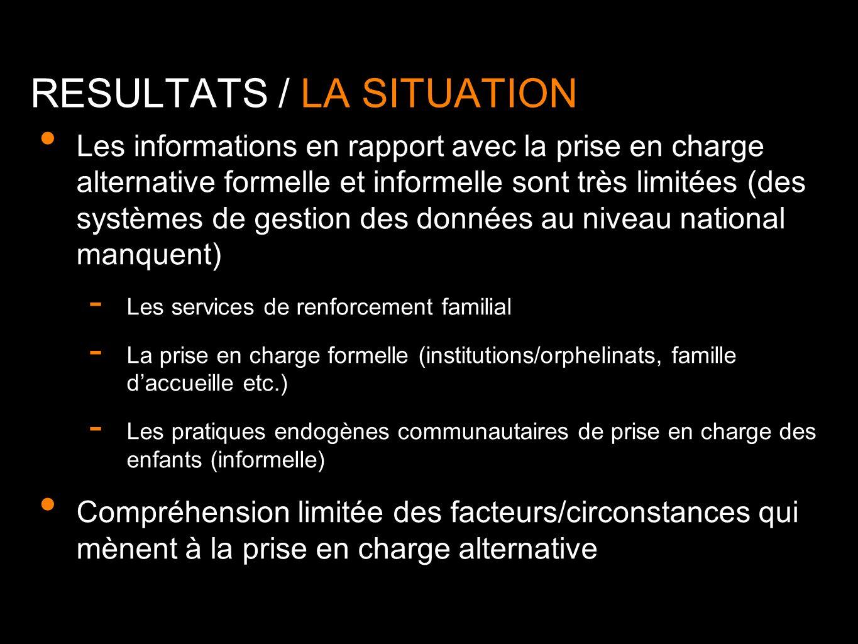 Les informations en rapport avec la prise en charge alternative formelle et informelle sont très limitées (des systèmes de gestion des données au nive