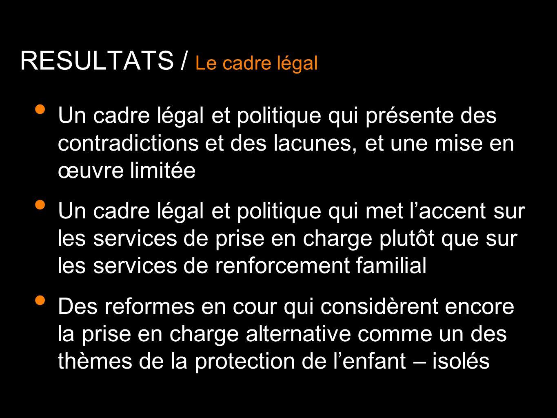Un cadre légal et politique qui présente des contradictions et des lacunes, et une mise en œuvre limitée Un cadre légal et politique qui met laccent s