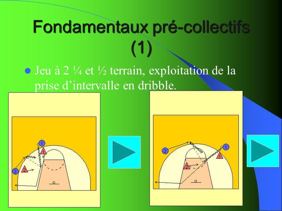 Fondamentaux pré-collectifs (1) Jeu à 2 ¼ et ½ terrain, exploitation de la prise dintervalle en dribble.