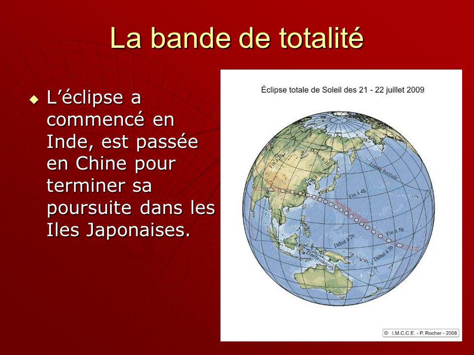 Léclipse a commencé en Inde, est passée en Chine pour terminer sa poursuite dans les Iles Japonaises.
