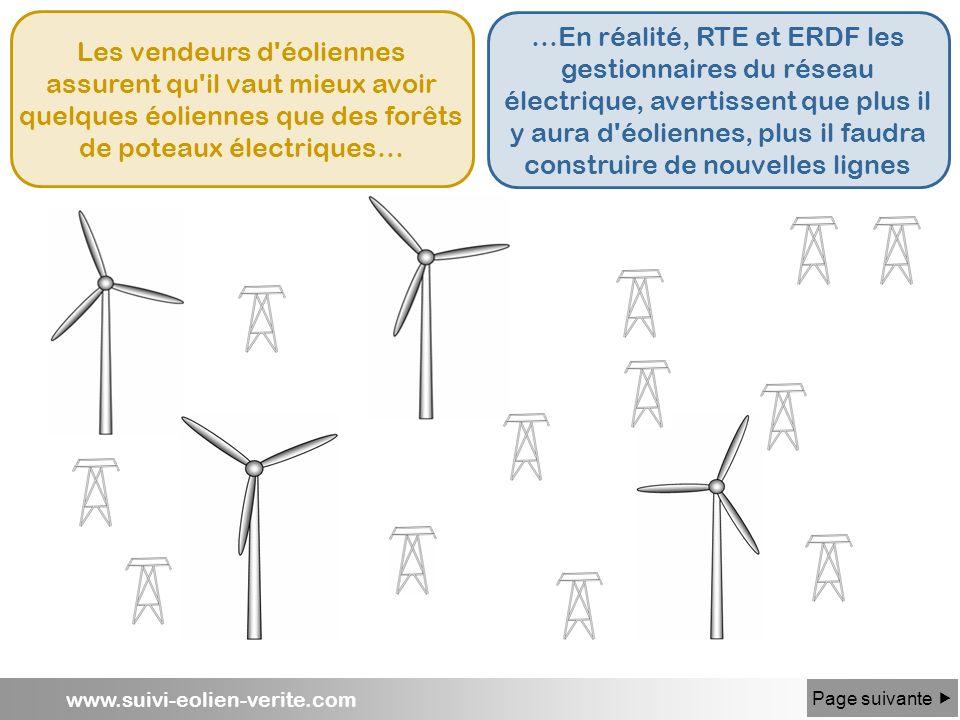 www.suivi-eolien-verite.com Les vendeurs d'éoliennes assurent qu'il vaut mieux avoir quelques éoliennes que des forêts de poteaux électriques… …En réa