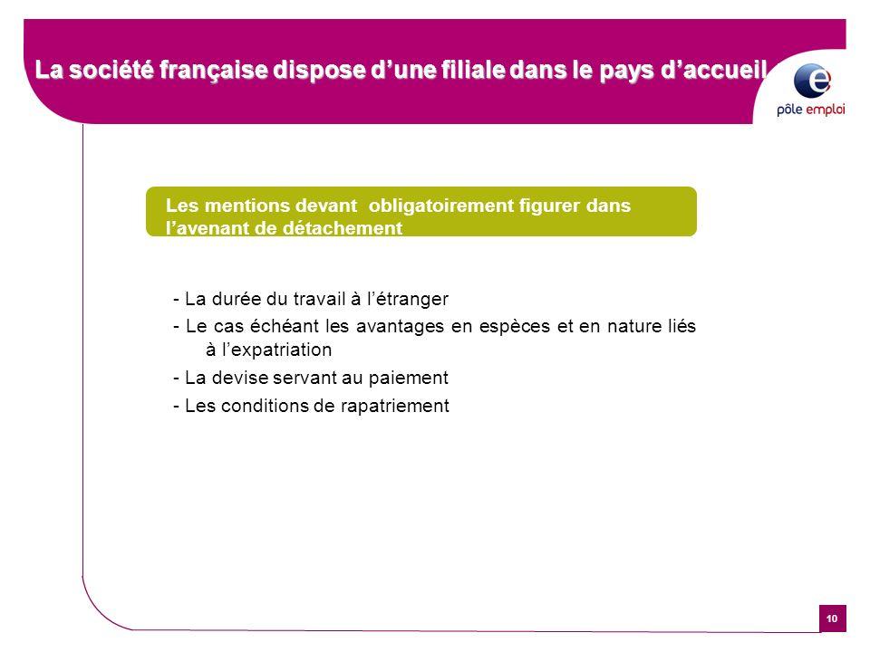 10 La société française dispose dune filiale dans le pays daccueil Les mentions devant obligatoirement figurer dans lavenant de détachement - La durée