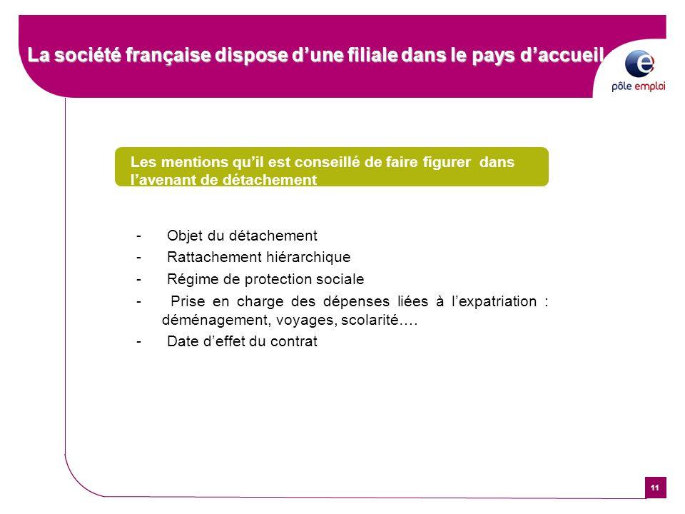 11 La société française dispose dune filiale dans le pays daccueil Les mentions quil est conseillé de faire figurer dans lavenant de détachement - Obj