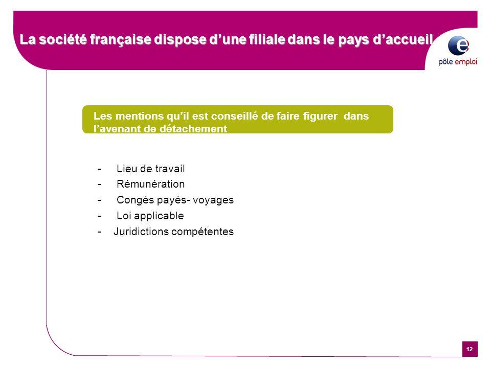 12 La société française dispose dune filiale dans le pays daccueil Les mentions quil est conseillé de faire figurer dans lavenant de détachement - Lie
