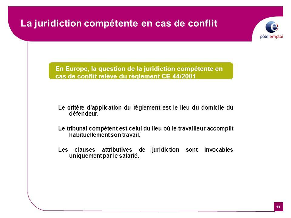 14 La juridiction compétente en cas de conflit En Europe, la question de la juridiction compétente en cas de conflit relève du règlement CE 44/2001 Le