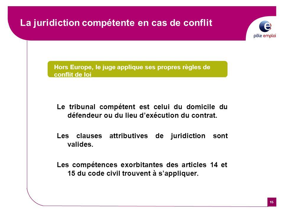 15 La juridiction compétente en cas de conflit Hors Europe, le juge applique ses propres règles de conflit de loi Le tribunal compétent est celui du d