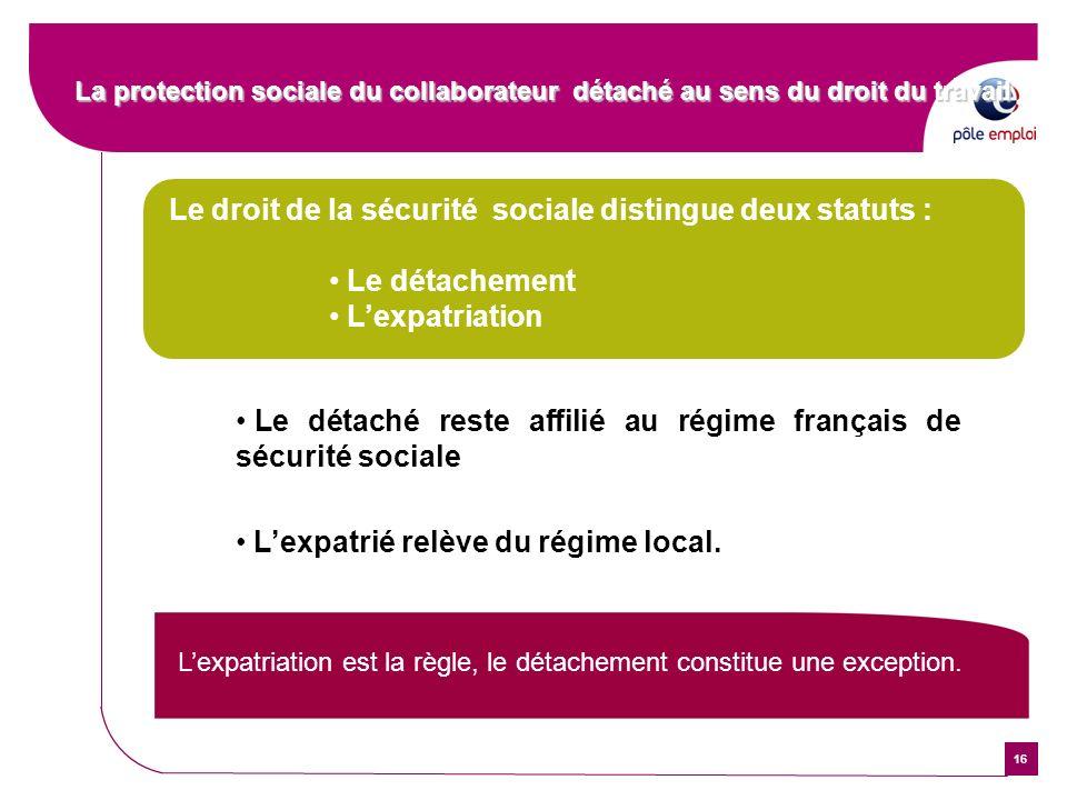 16 Le droit de la sécurité sociale distingue deux statuts : Le détachement Lexpatriation Le détaché reste affilié au régime français de sécurité socia