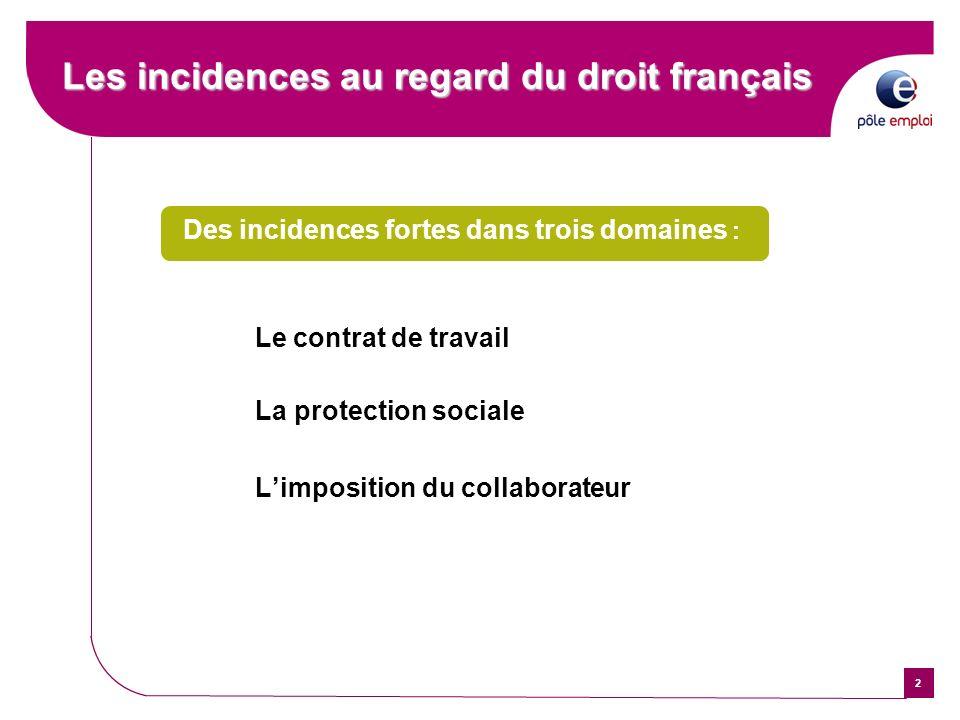 2 Les incidences au regard du droit français Les incidences au regard du droit français Des incidences fortes dans trois domaines : Le contrat de trav