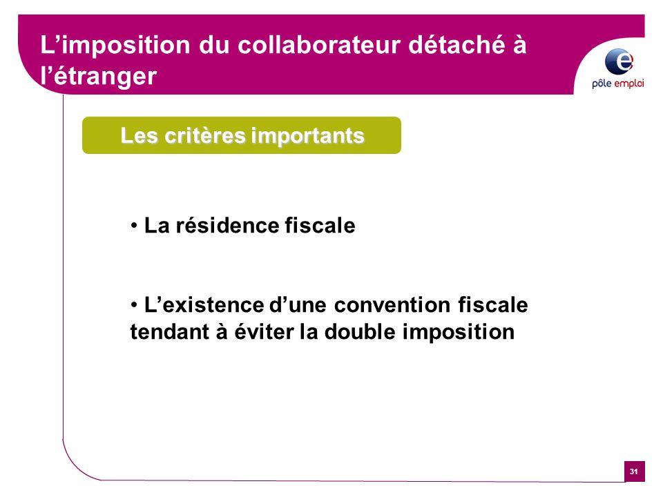 31 Les critères importants La résidence fiscale Lexistence dune convention fiscale tendant à éviter la double imposition Limposition du collaborateur