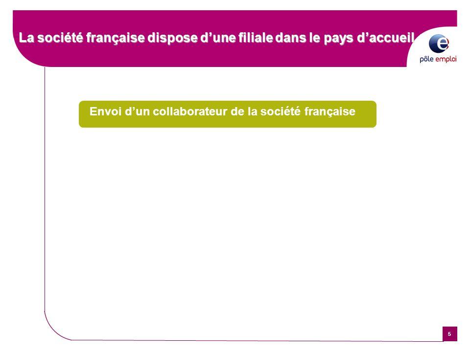 5 La société française dispose dune filiale dans le pays daccueil Envoi dun collaborateur de la société française