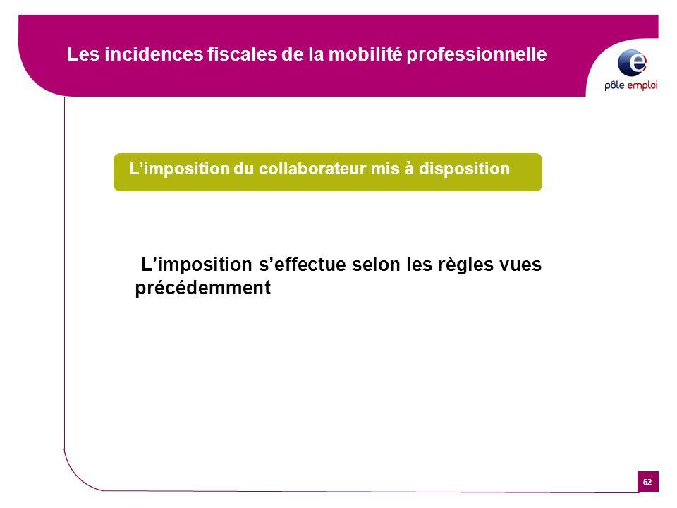 52 Les incidences fiscales de la mobilité professionnelle Limposition du collaborateur mis à disposition Limposition seffectue selon les règles vues p