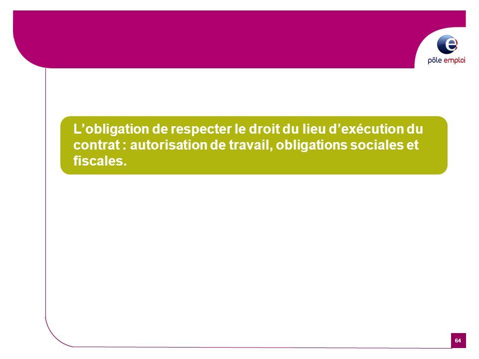 64 Lobligation de respecter le droit du lieu dexécution du contrat : autorisation de travail, obligations sociales et fiscales.