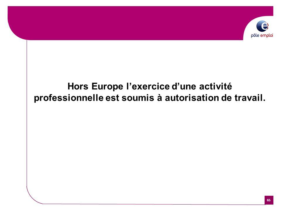 65 Hors Europe lexercice dune activité professionnelle est soumis à autorisation de travail.