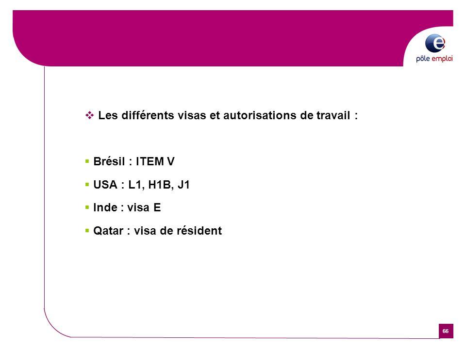 66 Les différents visas et autorisations de travail : Brésil : ITEM V USA : L1, H1B, J1 Inde : visa E Qatar : visa de résident