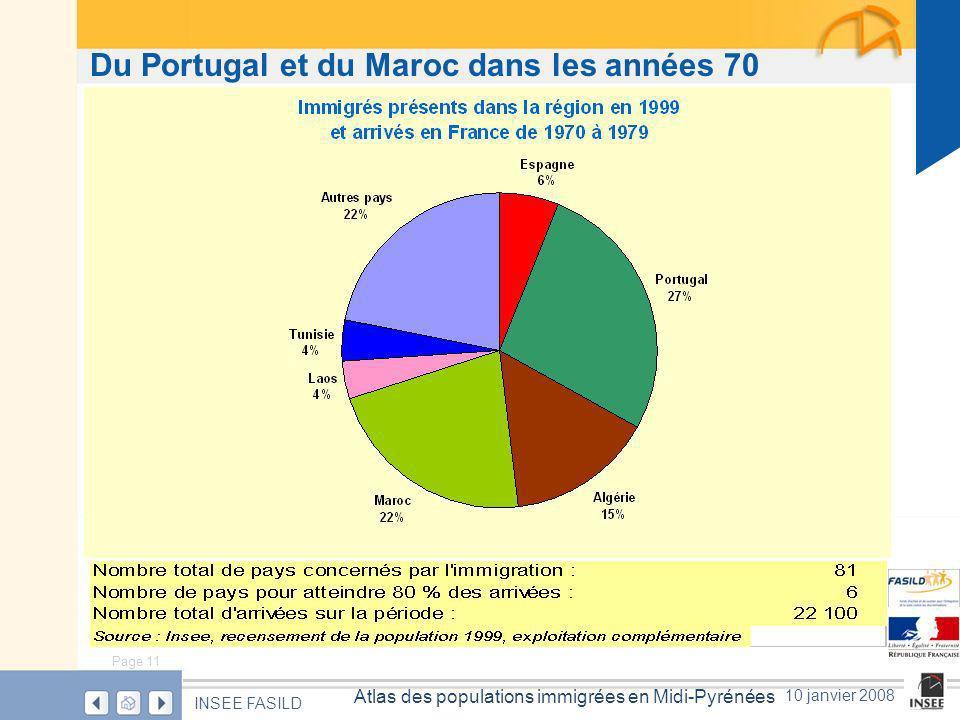 Page 11 Atlas des populations immigrées en Midi-Pyrénées INSEE FASILD 10 janvier 2008 Du Portugal et du Maroc dans les années 70