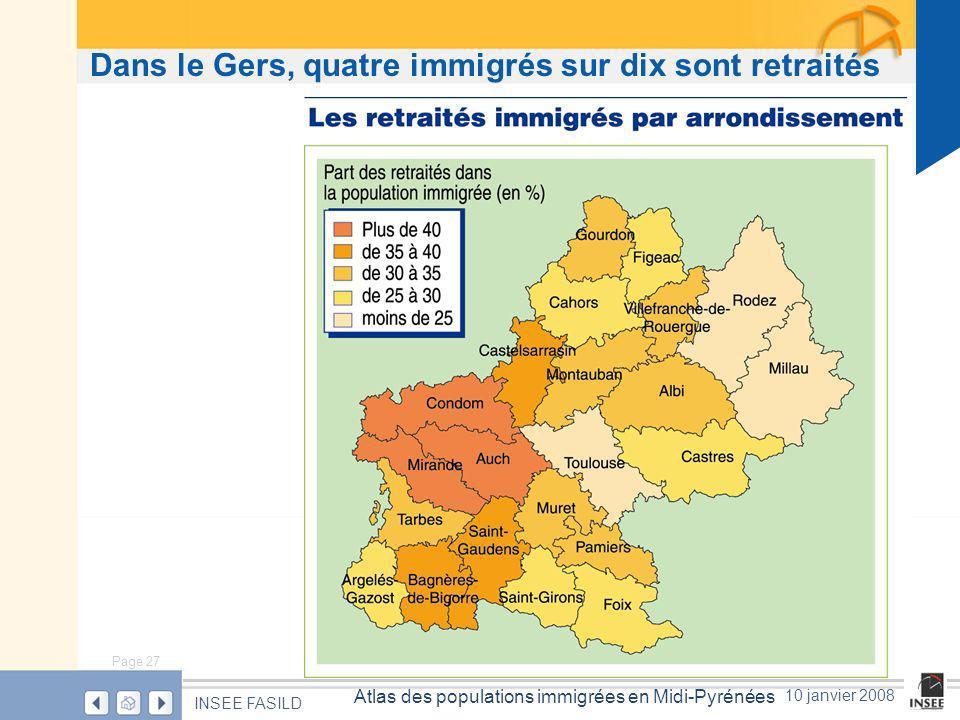 Page 27 Atlas des populations immigrées en Midi-Pyrénées INSEE FASILD 10 janvier 2008 Dans le Gers, quatre immigrés sur dix sont retraités
