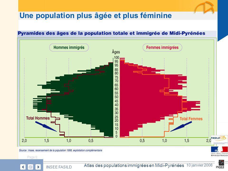 Page 6 Atlas des populations immigrées en Midi-Pyrénées INSEE FASILD 10 janvier 2008 Une population plus âgée et plus féminine