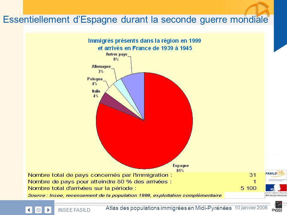 Page 8 Atlas des populations immigrées en Midi-Pyrénées INSEE FASILD 10 janvier 2008 Essentiellement dEspagne durant la seconde guerre mondiale