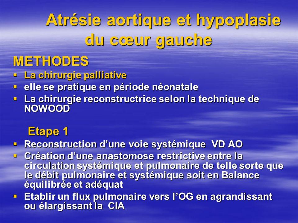 Atrésie aortique et hypoplasie du cœur gauche METHODES La chirurgie palliative La chirurgie palliative elle se pratique en période néonatale elle se p