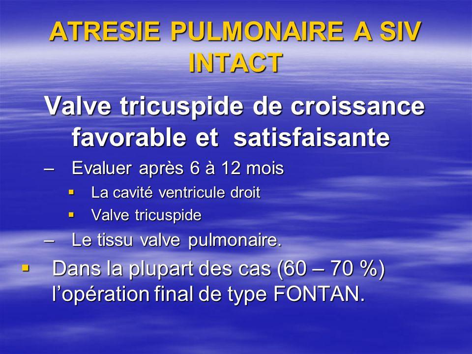 ATRESIE PULMONAIRE A SIV INTACT Valve tricuspide de croissance favorable et satisfaisante –Evaluer après 6 à 12 mois La cavité ventricule droit La cav