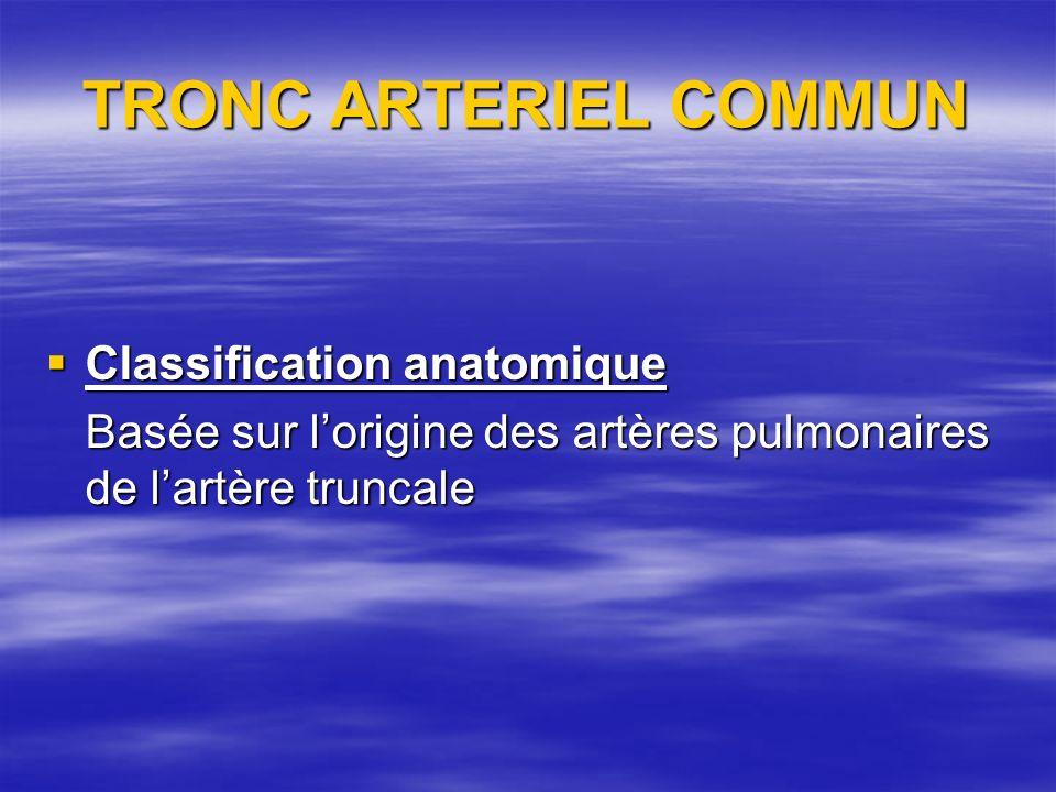 TRONC ARTERIEL COMMUN Classification anatomique Classification anatomique Basée sur lorigine des artères pulmonaires de lartère truncale