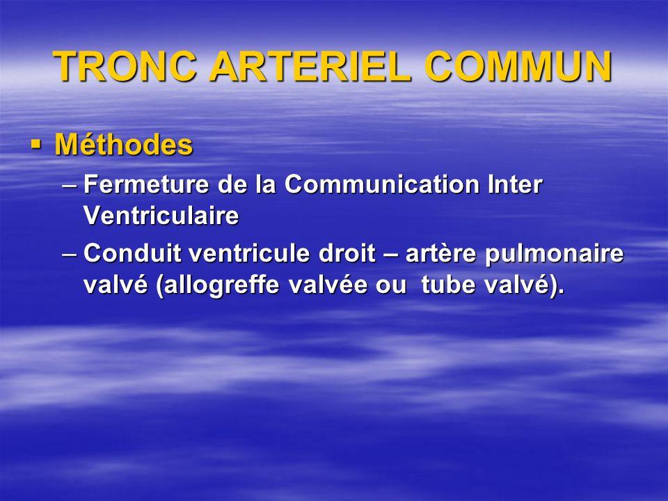 TRONC ARTERIEL COMMUN Méthodes Méthodes –Fermeture de la Communication Inter Ventriculaire –Conduit ventricule droit – artère pulmonaire valvé (allogr