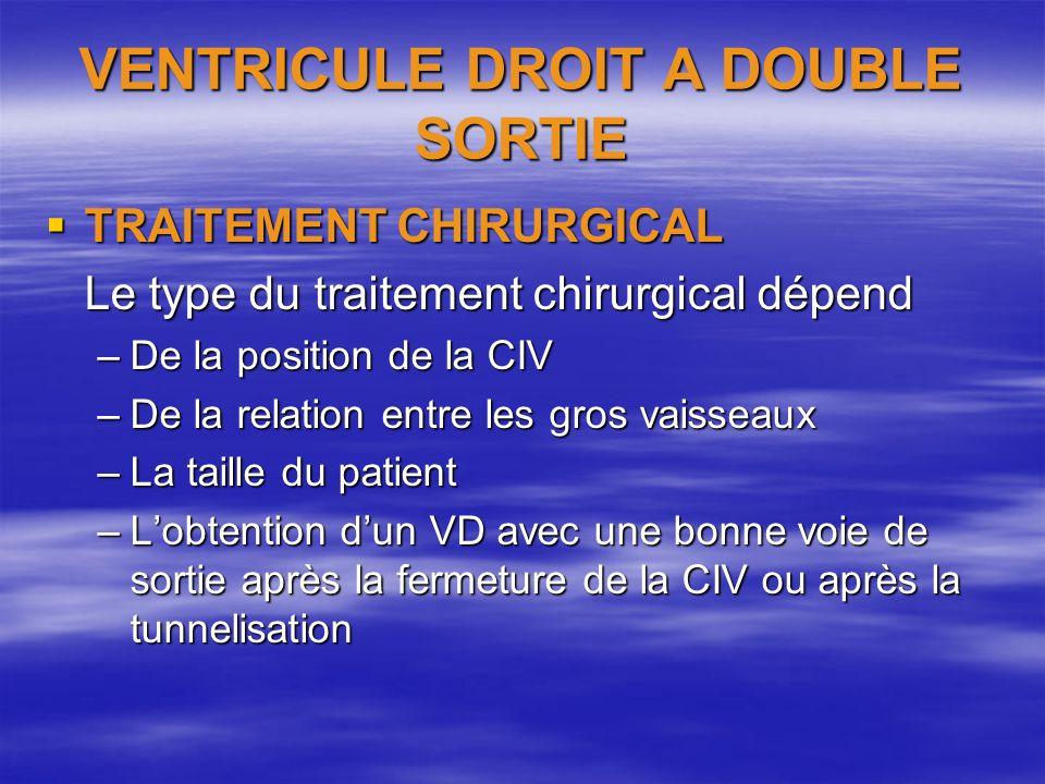 VENTRICULE DROIT A DOUBLE SORTIE TRAITEMENT CHIRURGICAL TRAITEMENT CHIRURGICAL Le type du traitement chirurgical dépend –De la position de la CIV –De