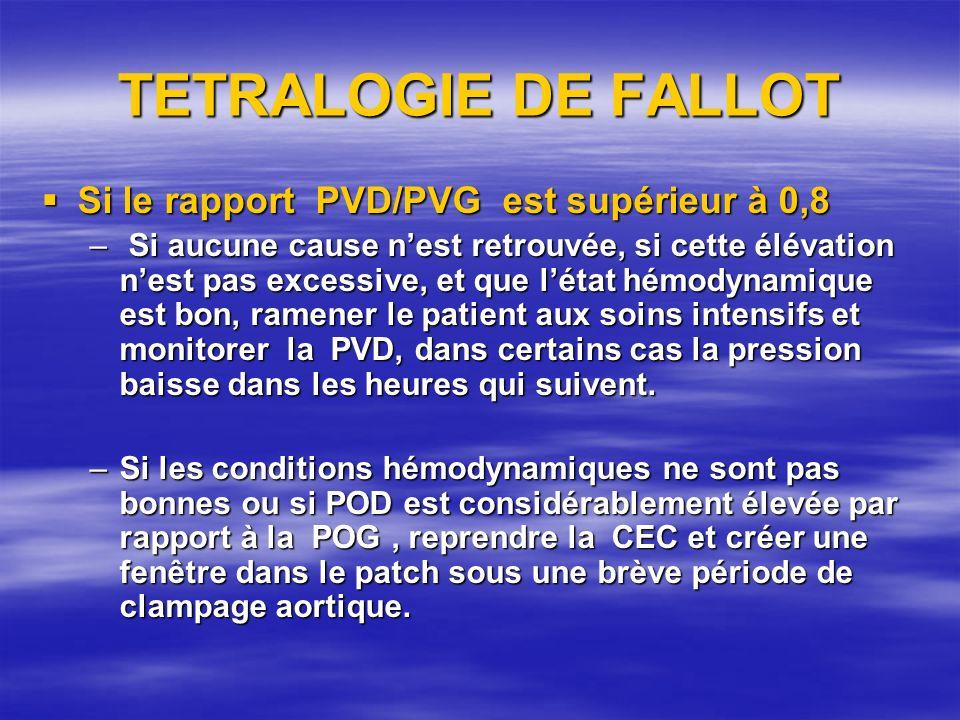 TETRALOGIE DE FALLOT Si le rapport PVD/PVG est supérieur à 0,8 Si le rapport PVD/PVG est supérieur à 0,8 – Si aucune cause nest retrouvée, si cette él
